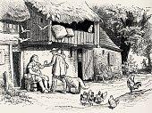 Two men talking at the farmhouse door