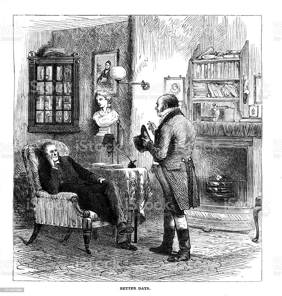 Victorian Drawing Room: Two Men Talking In Victorian Drawing Room From 1880