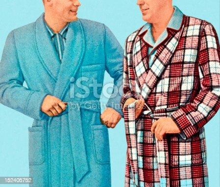 istock Two Men Wearing Bathrobes 152405752