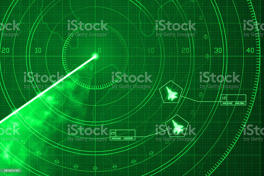 Two military aircrafts on green digital radar with coordinates vector art illustration