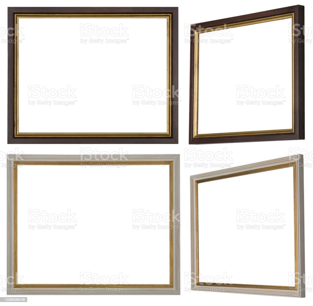 Two Narrow Frames In White And Brown With Gold Stock Vector Art
