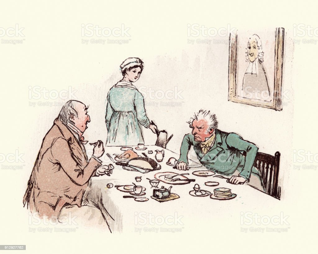 Two old victorian men arguing over the dinner table vector art illustration