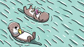 Illustration of two otters floating on water and using mobile devices as they relax.