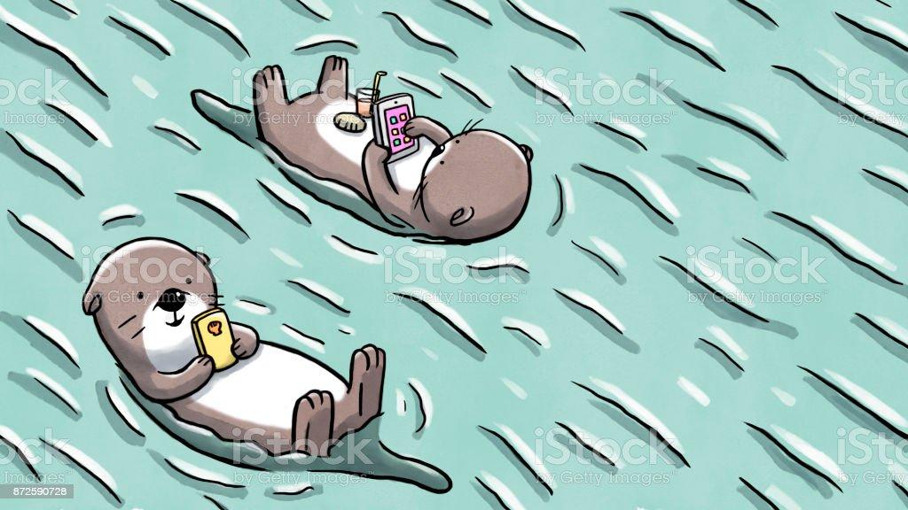 モバイル保水やタブレットに浮かぶ 2 つのカワウソ ベクターアートイラスト