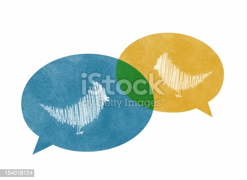 istock Two Overlapping Speech Bubbles with Birds 154018124
