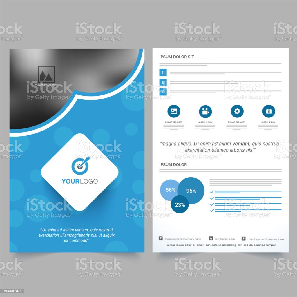 two page business brochure template design with space to add your