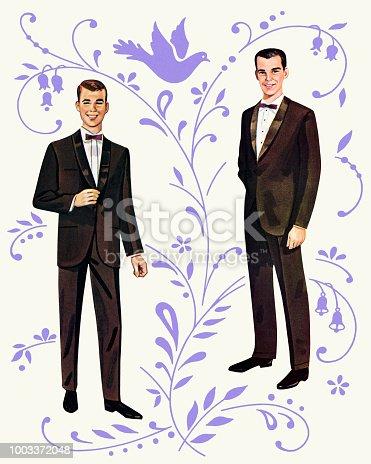 Dos hombres de muñeca de papel
