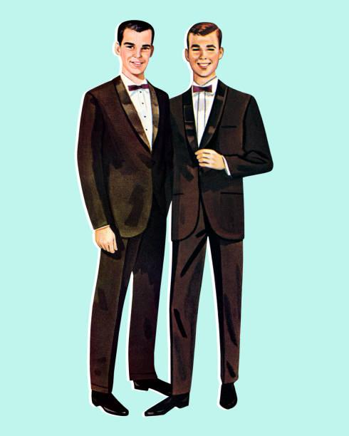 two paper doll men - wedding stock illustrations, clip art, cartoons, & icons