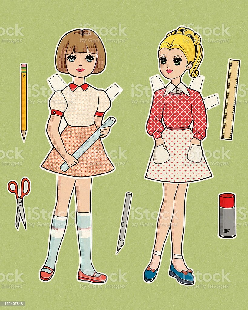 Two Paper Dolls royalty-free two paper dolls stock vector art & more images of adolescence