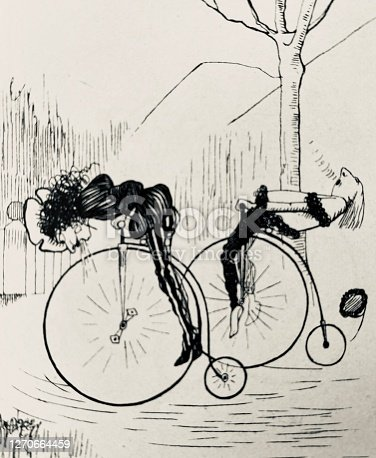 istock Two Penny farthing bicyclists bent over and laid back 1270664459