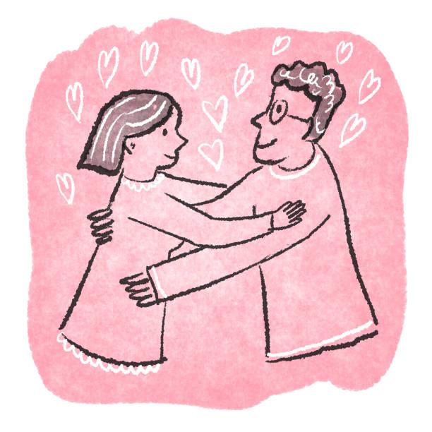 Two people hugging two people hugging drawing kathrynsk stock illustrations