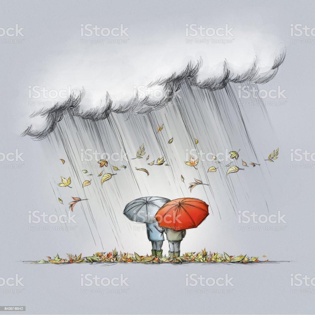 Zwei Menschen mit Regenschirmen bei Herbstwetter – Vektorgrafik