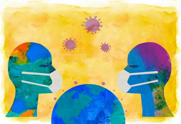 Zwei Personen mit Gesichtsmasken und Erde – Vektorgrafik