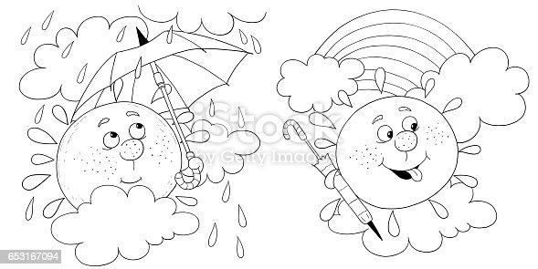 Two Pictures Of Cute Sun Illustration For Children