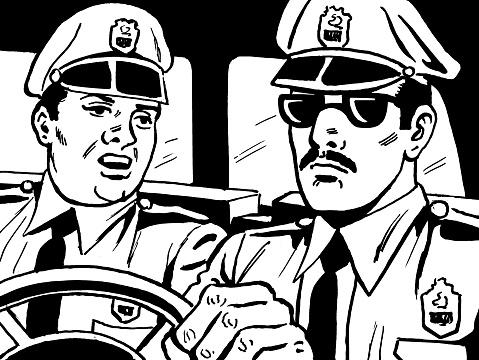 Two Policemen inside Police Car