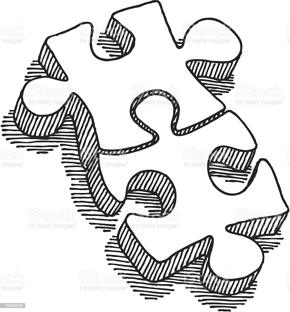 Two puzzle pieces connection drawing stock vector art more images of black and white 165929255 - Puzzle dessin ...