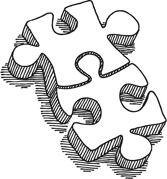 Two Puzzle Pieces Connection Drawing Hand-drawn vector sketch of two connected Puzzle Pieces. Concept image for Teamwork. Black-and-White sketch on a transparent background (.eps-file). Included files: EPS (v8) and Hi-Res JPG. game stock illustrations