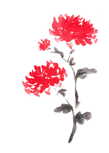Two red chrysanthemums ink painting.
