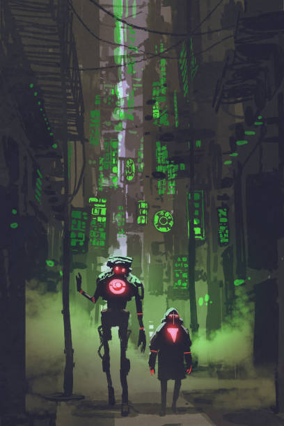 bildbanksillustrationer, clip art samt tecknat material och ikoner med två robotar promenader i smala gränd - gränd