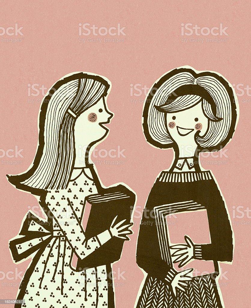 Two School Girls Holding Books royalty-free stock vector art