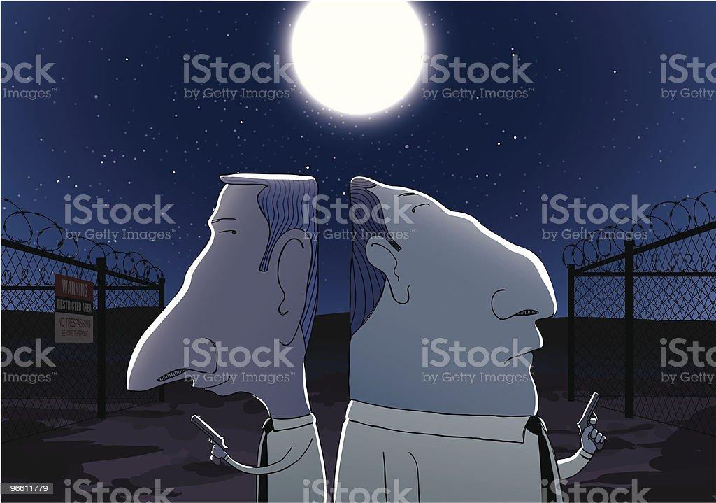 Two Secret Agents Sneaking Outside Secure Area at Night - Royaltyfri Dämpad belysning vektorgrafik