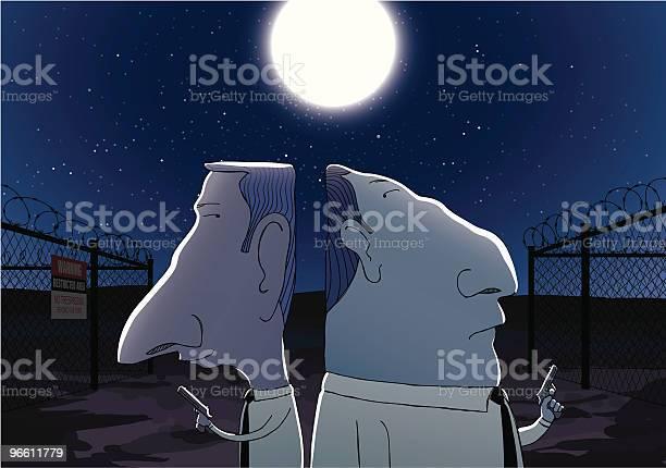 Two Secret Agents Sneaking Outside Secure Area At Night-vektorgrafik och fler bilder på Dämpad belysning