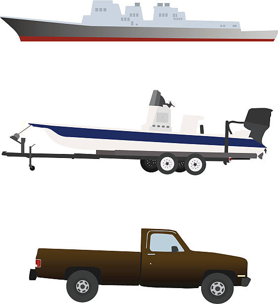 Two ships and a truck. vector art illustration