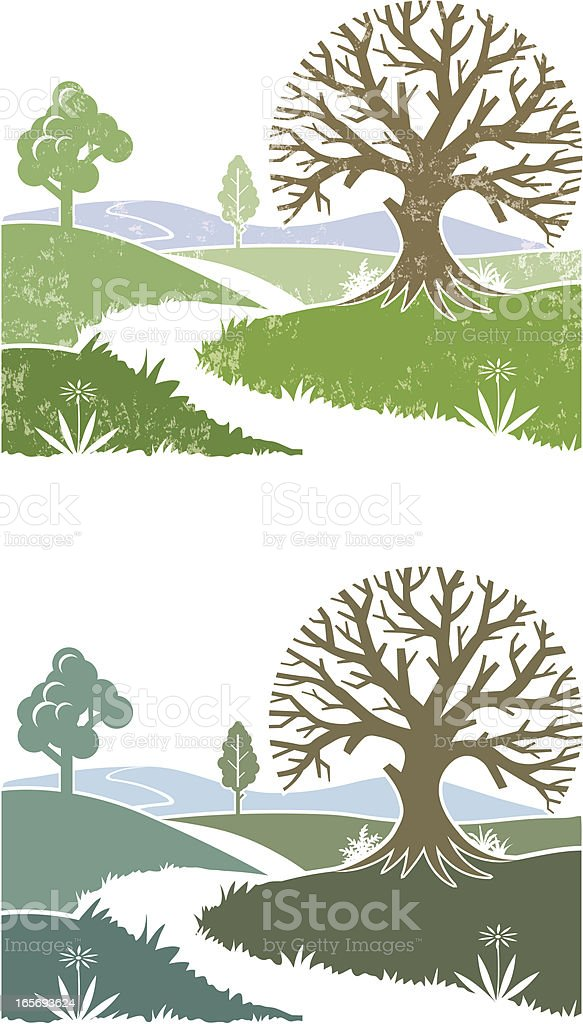 Two small landscapes vector art illustration
