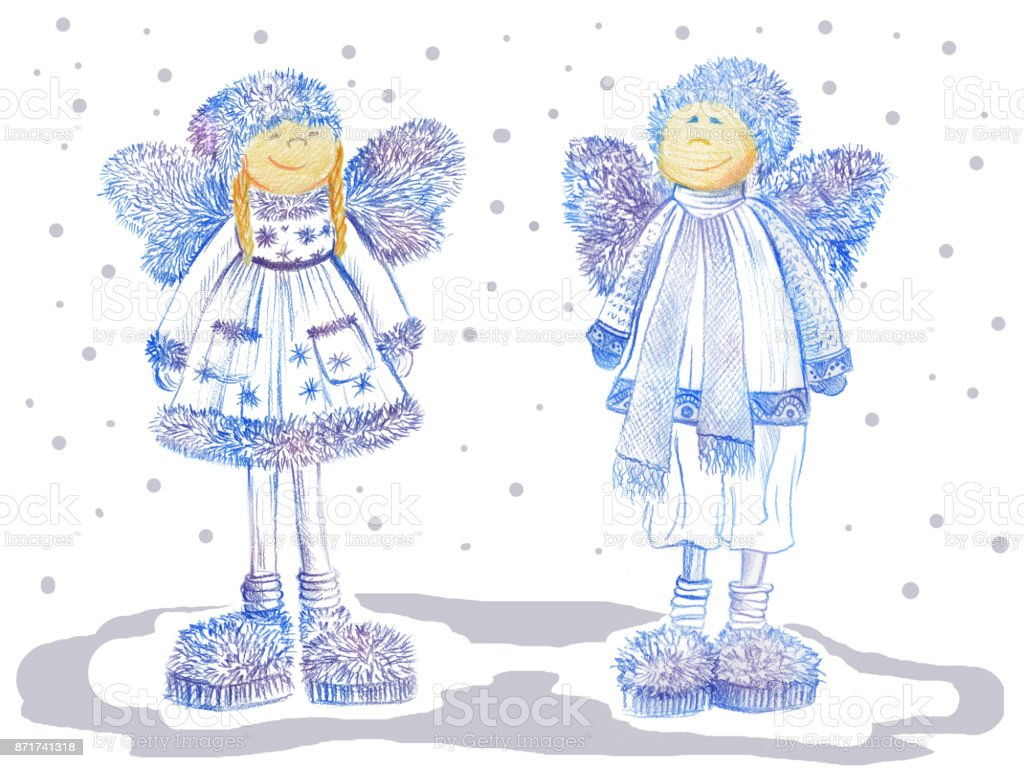 Two Smiling Christmas Angels With Fluffy Wings Dressed In Warm ...