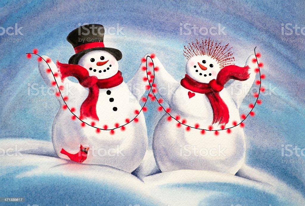 Two Snowmen Light Up The Night vector art illustration