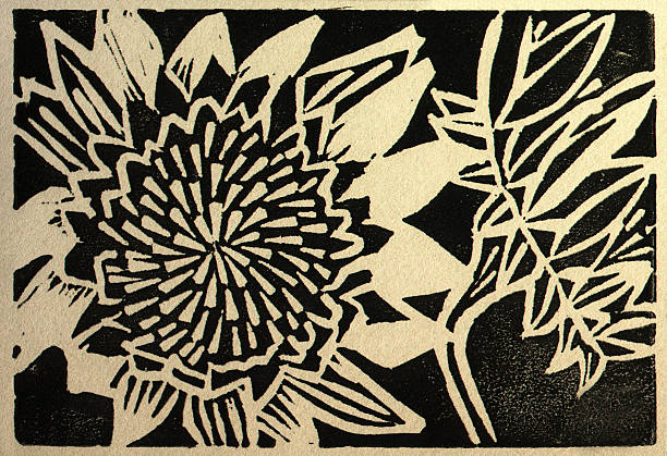 Two Sunflowers Linoleum cut print done in black ink on khaki paper of two sunflowers. linocut stock illustrations
