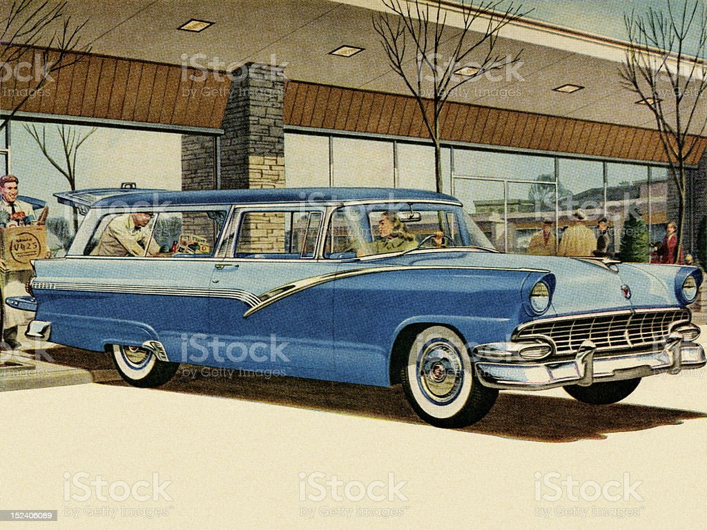 Two Tone Blue Vintage Car at Grocery Store vector art illustration