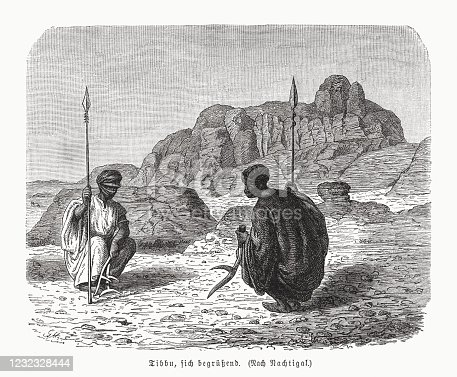 istock Two Toubou, greeting each other, wood engraving, published in 1891 1232328444