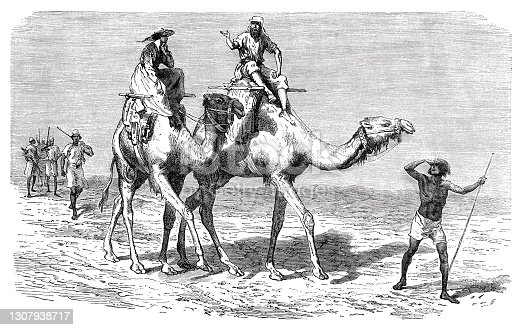 Two tourist riding camel through desert in Africa 1870 Original edition from my own archives Source : Tour du monde 1870 Drawing: J. Gauchard - Emile Bayard after S. Baker