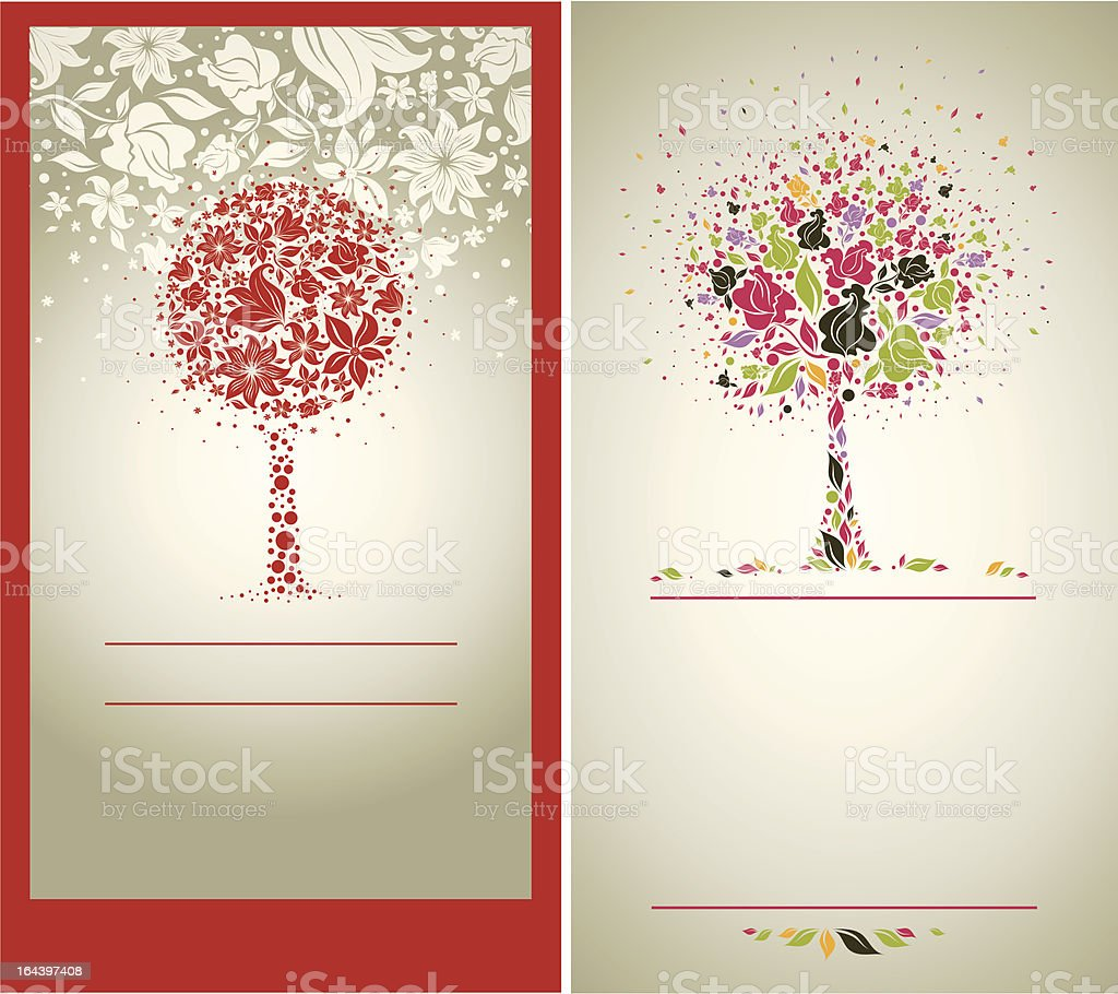 Two Vector samples of design with decorative tree royalty-free stock vector art