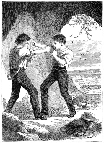 Two Victorian boys fist fighting
