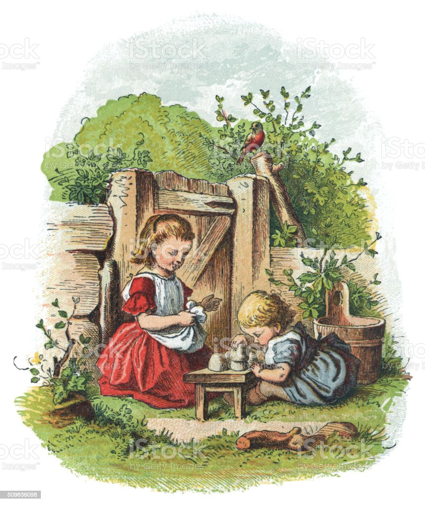 Two Victorian children playing in a garden vector art illustration