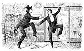 Two Victorian gentlemen dancing a jig