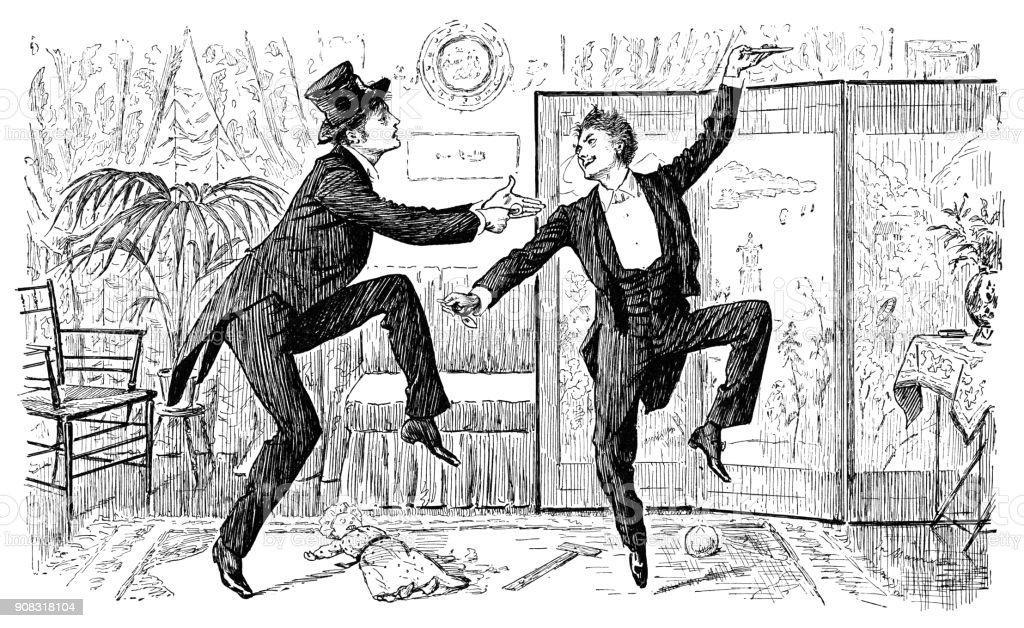 Two Victorian gentlemen dancing a jig vector art illustration