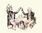 Two victorian men drinking and having fun