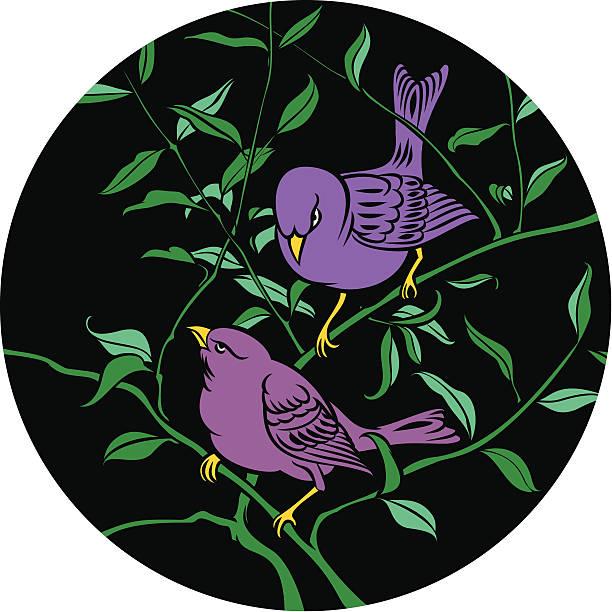 Zwei Violett Vögel auf Ast – Vektorgrafik