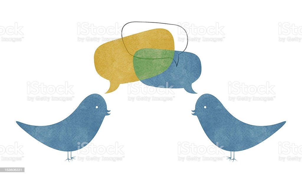Two Watercolor Birds Talking royalty-free stock vector art