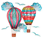 Two watercolor cartoon multicolored balloons flying among clouds and birds isolated on white background