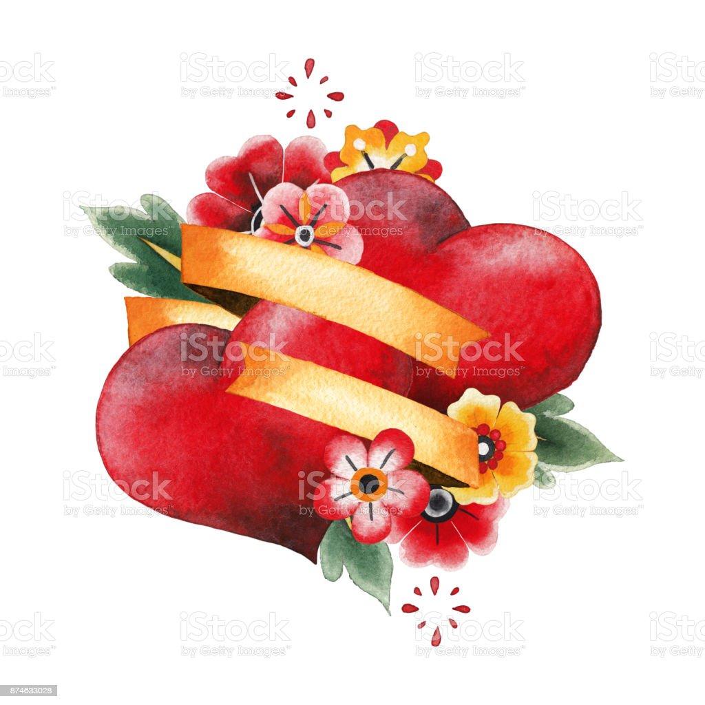 Iki Suluboya Kalp şeritler çiçekler Stok Vektör Sanatı Abdnin