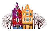 Two watercolor old stone europe houses. Amsterdam buildings with trees. Hand drawn cartoon  illustration