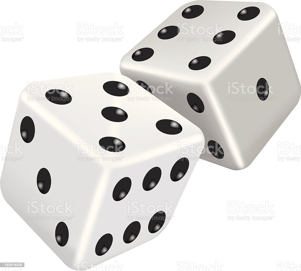 Two white dice vector art illustration