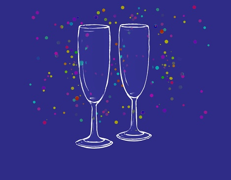 Two wine glasses in sketch style on dark blue background