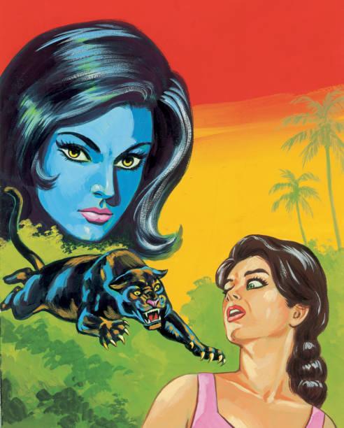illustrazioni stock, clip art, cartoni animati e icone di tendenza di due donne e i salti panther - woman portrait forest