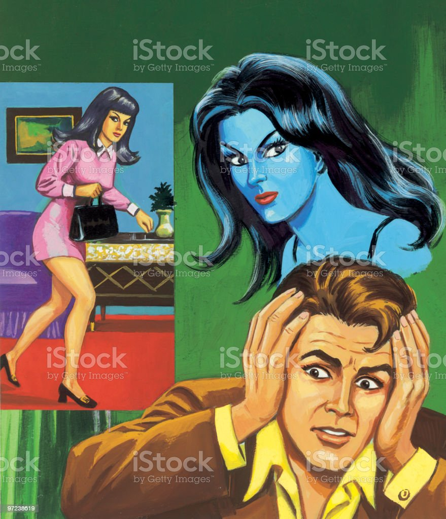 Two Women and Man Holding His Head vector art illustration