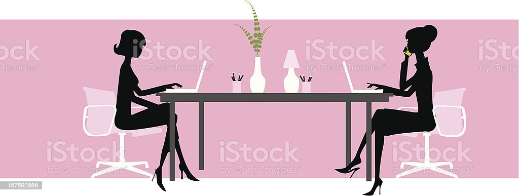 Two women at Desk vector art illustration